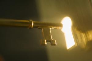 Close up of keyhole and key